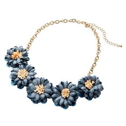 Collier fleurs bleues