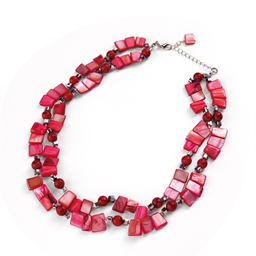 Collier perles rouges