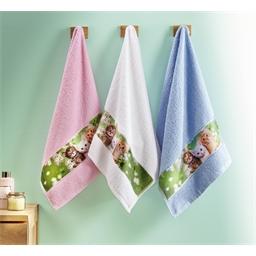 Lot de 3 serviettes éponge chatons
