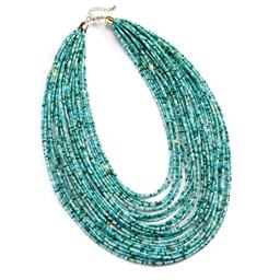 Collier multi-rangs turquoise
