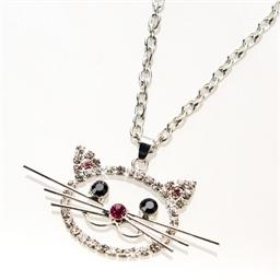 Collier tête de chat ou Broche tête de chat ou parure tête de chat (collier + broche)