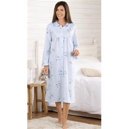 Chemise de nuit chaleur Fleurs bleues - taille M