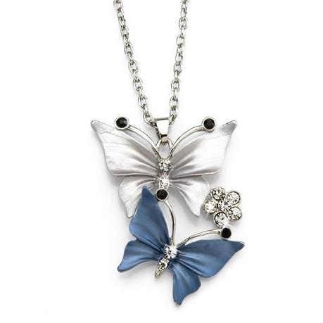 Pendentif papillons gris/bleu