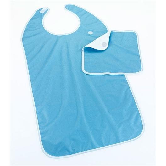 Bavoir adulte avec serviette bleu