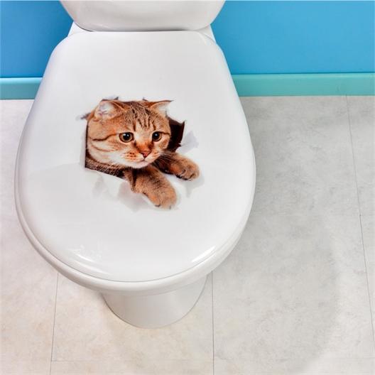 Lot de 2 stickers WC chat et chien
