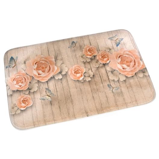 """Lot de 2 tapis de salle de bain """"roses sur bois"""""""