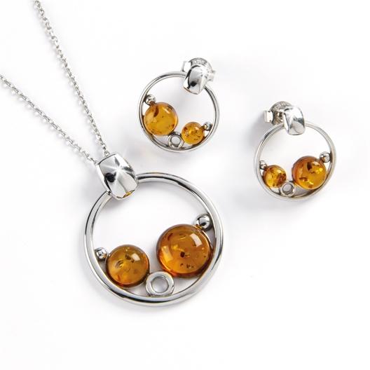 Pendentif et Boucles d'oreilles 2 perles Ambre