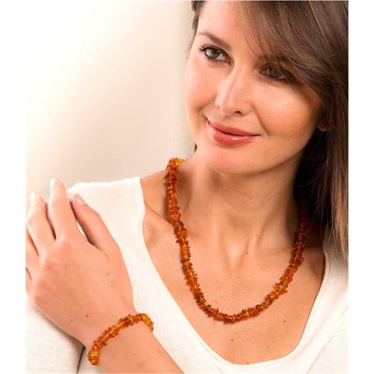 Bracelet / collier ambre orange