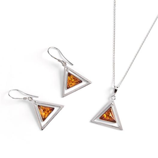 "Pendentif ambre ""triangle"" - Boucles d'oreilles ambre ""triangle"""