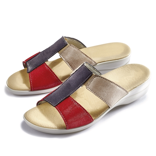 Mules confort Rouge/beige