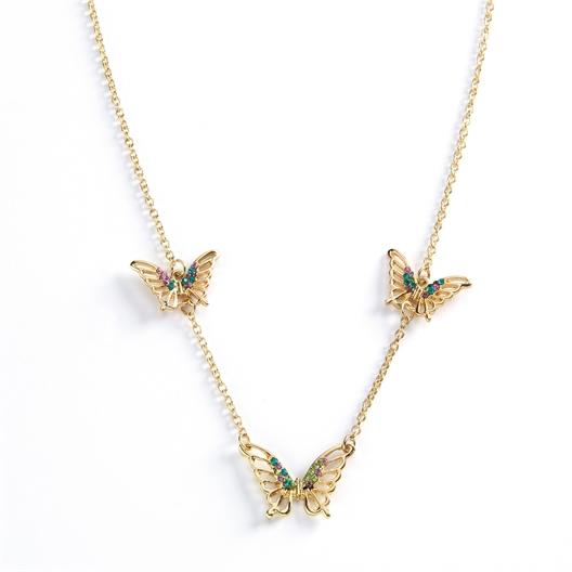 Parure collier + bracelet papillons