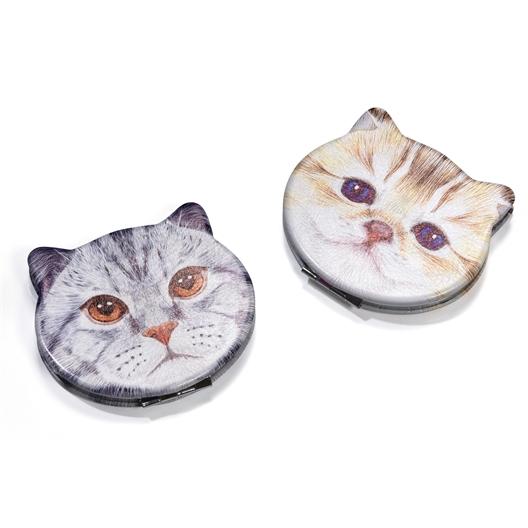 Miroir de poche Chat gris ou Roux