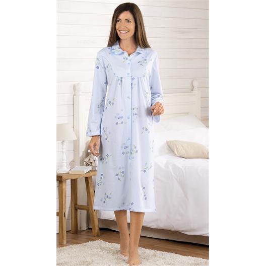 Chemise de nuit chaleur Fleurs bleu ou Lilas