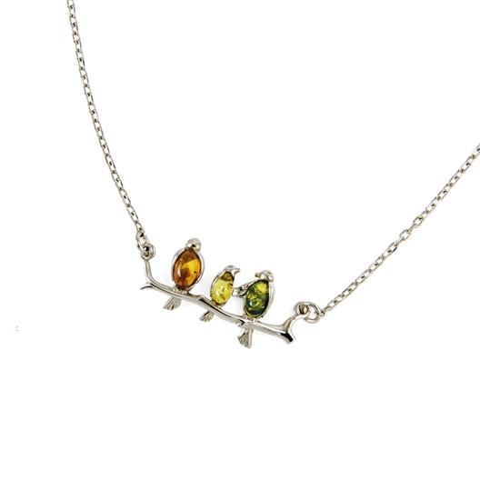 Collier oiseaux ambre