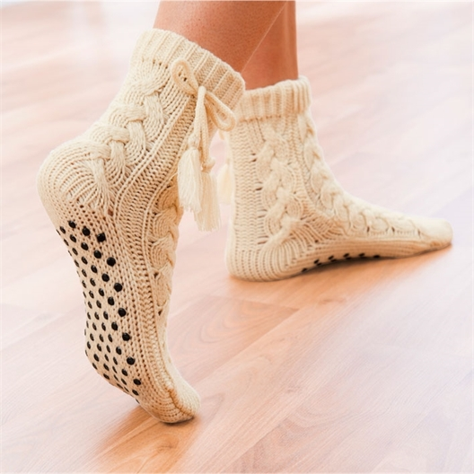 Chaussettes tricot antiglisse Beige - taille 40/41