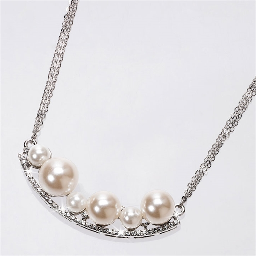 Collier Perles et zirconium