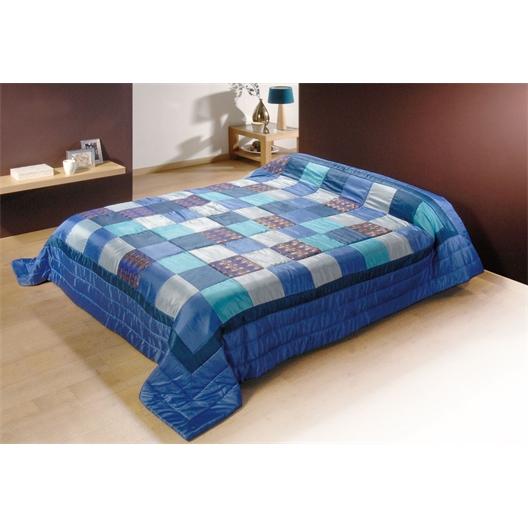 Couvre lit patchwork : bleu ou orange