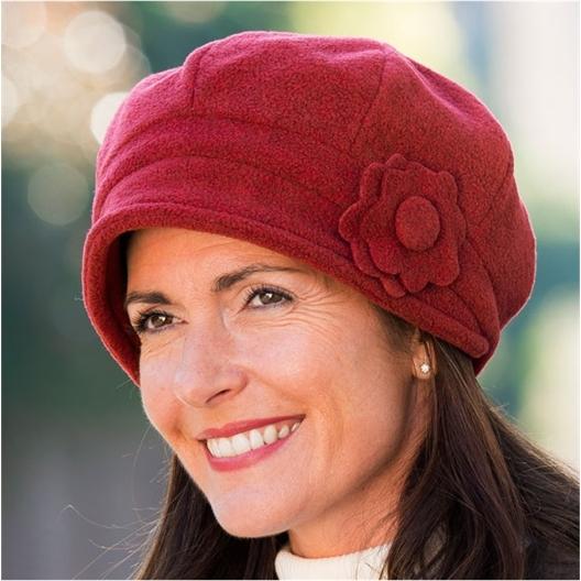 Chapeau polaire double épaisseur : Beige ou Rouge