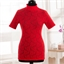 Tee-shirt dentelle col montant Rouge